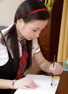 sex pics Young looking Asian schoolgirl Marizza, close up , spreading  schoolgirl