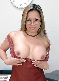 sex pics Mature asian teacher in glasses, big tits , pussy licking