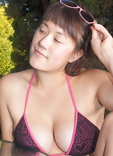 sex pics Thick Asian girl Sarah Rose frees big, shorts , spreading