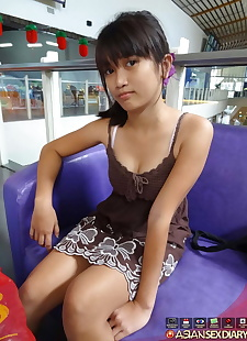 sex pics Petite Asian girl Menchie gets naked, close up , nipples  hairy