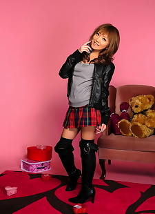 japanese sex pics Cute Japanese girl poses non nude in, skirt , high heels  boots